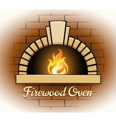 Firewood oven logo or badge vector