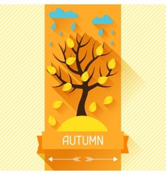 Seasonal with autumn tree in flat vector