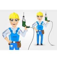 Electrician or mechanic holding electric drill up vector