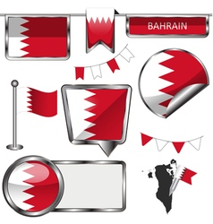 Glossy icons with Bahraini flag vector image