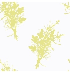 Hand drawn spicy herb bunch silhouette seamless vector