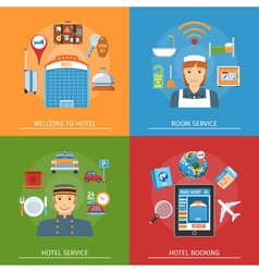 Hotel flat horizontal concepts set vector