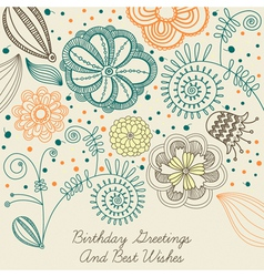 Vintage birthday floral card vector