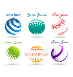 Abstract 3d dot spheres logo set vector
