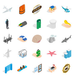 Assurance icons set isometric style vector