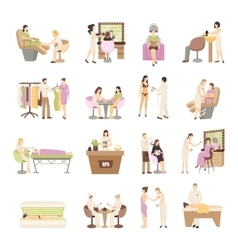 Beauty spa salon people set vector