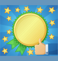 Best choice symbol golden award icon thumb up vector