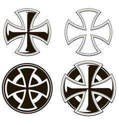 Black and white different cross set vector