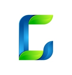 C letter leaves eco logo volume icon vector