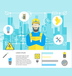 Cartoon professional electrician worker man and vector