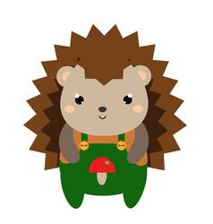 Cute hedgehog in green jumpsuit cartoon kawaii vector