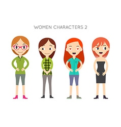 Diverse people set women different poses flat vector