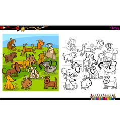 dogs group coloring page vector image