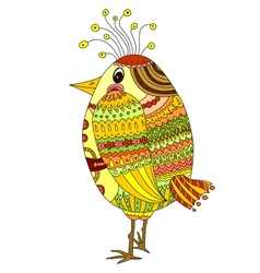 Drawing of a cute cartoon bird vector image vector image