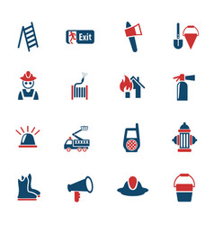 Fire brigade icon set vector