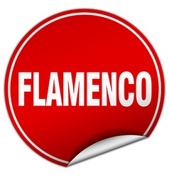 Flamenco round red sticker isolated on white vector