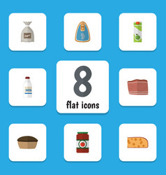 Flat icon food set of sack canned chicken tart vector