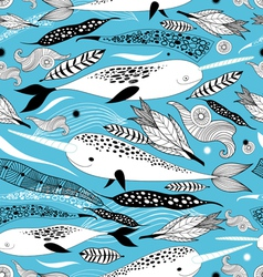 Floral pattern with whales vector