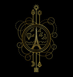 Gold eiffel tower symbol vector