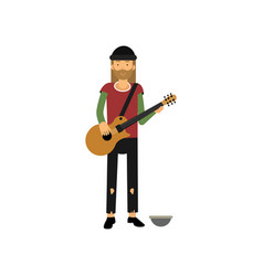 Homeless man playing guitar on the street vector