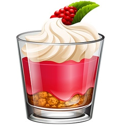 Jelly with cream and rasberry vector image