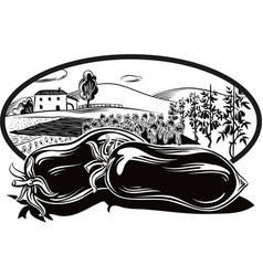 Oval frame with agricultural landscape and vector