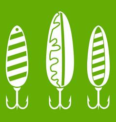 Plastic fishing lure icon green vector
