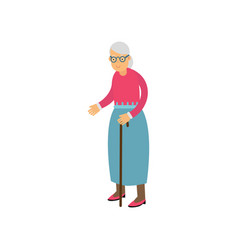senior woman standing with cane pensioner people vector image