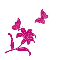 silhouette Lily and butterfly vector image