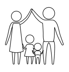 sketch silhouette of pictogram parents holding vector image