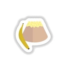 Stylish paper sticker sweet bun with banana vector