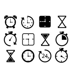 Time and clock icons on white background vector