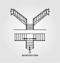 Top view and front view of a bifurcated staircase vector