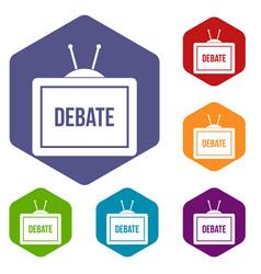 Tv with the debate inscription icons set hexagon vector