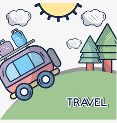Van with trees and sun with clouds vector