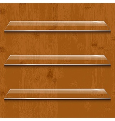 Wood Background With Glass Shelf vector image