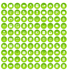 100 document icons set green circle vector
