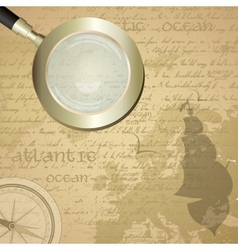 Antique sailor background with old grungy map and vector image