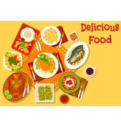 World cuisine popular lunch dishes icon vector