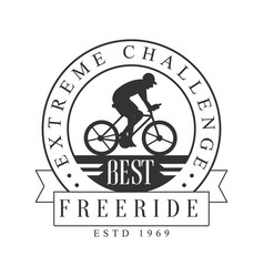 Freeride extreme challenge vintage label black vector
