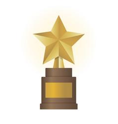 Golden star award on brown base gold trophy vector