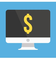 Computer display and dollar sign icon vector