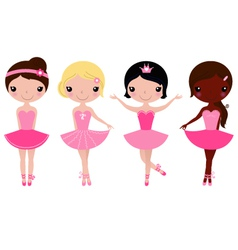 Little beautiful ballerina girls isolated on white vector image