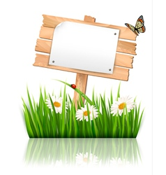 Nature background with grass and sign and a paper vector image