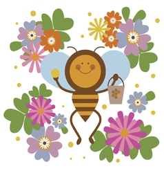 Happy bee character vector