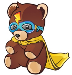 Super hero teddy bear cartoon character vector