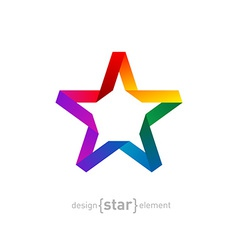 Origami rainbow star from paper on white vector