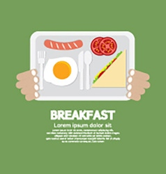 Breakfast tray in hand vector