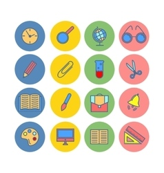 Color set of flat icons school supplies vector