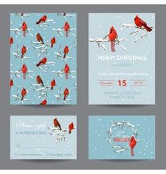 Christmas Winter Birds Greeting Card Set vector image